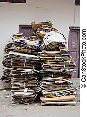 waste paper cardboard for recycling in street