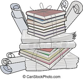 Waste paper. Paper waste and garbage suitable for recycling. Recycling cardboard, old paper. Vector Illustration.