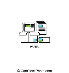 Waste paper recycle concept icon in line design, vector flat illustration isolated on white background