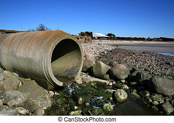 waste pipe sewage - waste pipe or drainage polluting ...
