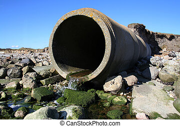 waste pipe sewage - waste pipe or drainage polluting...