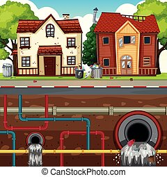 Waste Pipe Underground of Big City