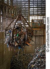 Waste processing plant interior