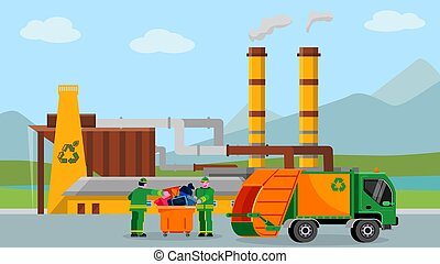 Waste recycle plant, vector illustration. Trash recycling industry concept design, people near truck with cartoon garbage.