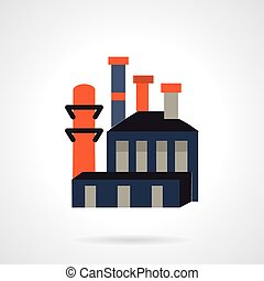 Flat color design vector icon for plant or factory for waste or plastic recycling. Design element for business and website.