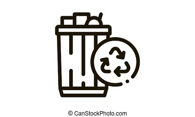 waste recycling Icon Animation. black waste recycling animated icon on white background