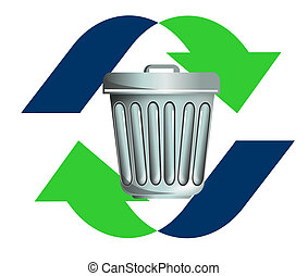 Waste recycling icon - illustration on rubbish or waste,...