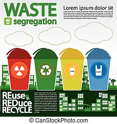 Waste Segregation. - Waste Segregation Illustration Vector10