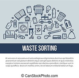 Waste sorting for easy removal promotional poster with...