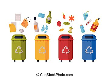 Waste Sorting, Set of Different Colorful Trash Bins with Sorted Garbage, Paper, Glass, Organic, Plastic Kinds of Trash Flat Style Vector Illustration