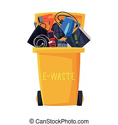 Waste Sorting, Trash Can with Sorted E-Waste Garbage, Segregation and Separation Rubbish Disposal Refuse Bin Vector Illustration