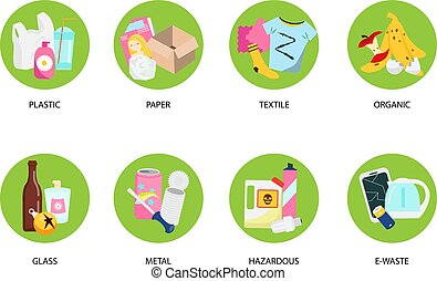 Waste types sorting. Organic, paper, metal, hazardous, textile and other kind of trash symbols. Garbage vector icons