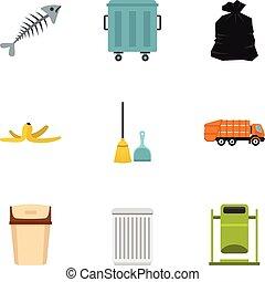Waste utilization icons set, flat style