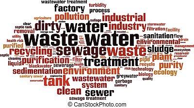 Waste water horizon - Waste water word cloud concept. Vector...