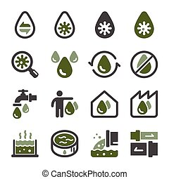 waste water icon set - waste water and sewage icon set, ...