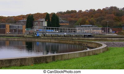 Waste water treatment plant tank - View of wastewater...