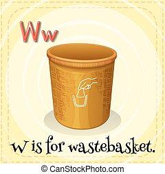 Wastebasket - Flashcard letter W is for wastebasket