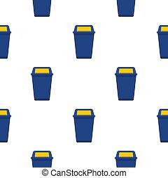 wastebasket, motívum, kék, műanyag, seamless