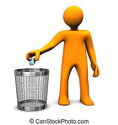 Wastebasket Orange Toon - Orange cartoon character throws...