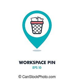 Wastebasket pin map icon. Workspace map pointer. Map markers. Graph symbol for your web site design, logo, app, UI