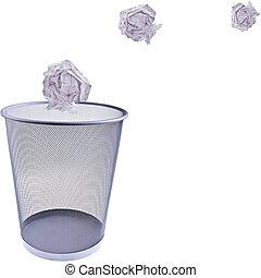 wastebasket, tirar, aislado, totalmente, papel, blanco