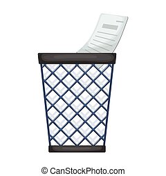 Wastebasket vector icon. Cartoon vector logo isolated on white background wastebasket.