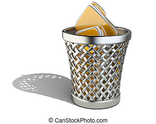 Wastepaper basket with folders isolated on white background....