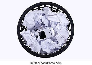 wastepaper with papers and phone - isolated full wastepaper ...