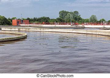 wastewater., behandling, plante, sewage, aeration