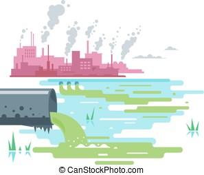 Water pollution from industrial pipe, ecological disaster, dirty toxic effluents, environmental pollution