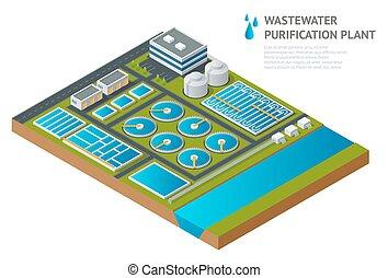 wastewater., environnement, isométrique, liquide, danger, stockage, chimique, waste., vecteur, traitement, réservoirs, eau, décharge, plant., eaux égout, sale