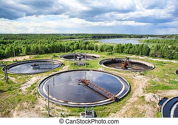 wastewater, pianta trattamento, per, togliere, biologico, o, sciupìo chimico, prodotti, da, acqua