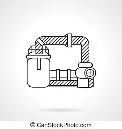 Wastewater treatment line vector icon - Flat line design...