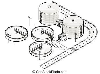 Wastewater treatment plant in stylized outline vector...