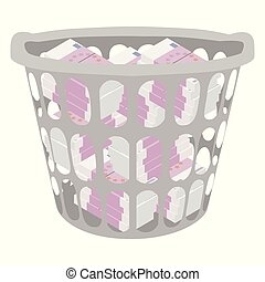 Wasting money concept. Throwing money in basket. Vector illustration. Full of money