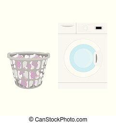 Wasting money concept. Washing machine and basket full of money