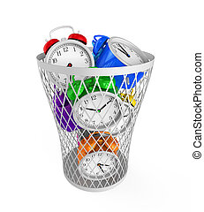 Wasting Time Concept isolated on white background. 3D render