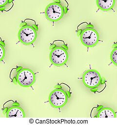 Wasting time concept. Many green alarm clock