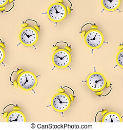 Wasting time concept. Many yellow alarm clock