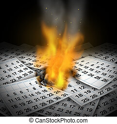 Wasting time concept and business deadline stress as burning calendar pages with flames rising as a loss metaphor for inefficient lazy schedule management crisis or losing memories.