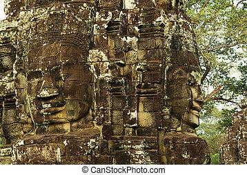 wat , πέτρα , αρχαίος , καμπότζη , γλύφω , αντικρύζω , κρόταφος , angkor