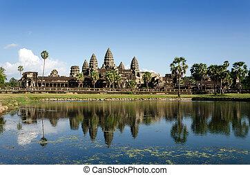 wat angkor, à, reflet, dans, eau, dans, siem, récolter