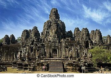 wat, angkor, antiguo, templo, camboya