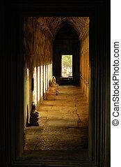 wat, angkor, cambodge, couloir