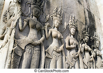 wat, -, angkor, cambogia