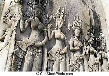 wat, -, angkor, camboya