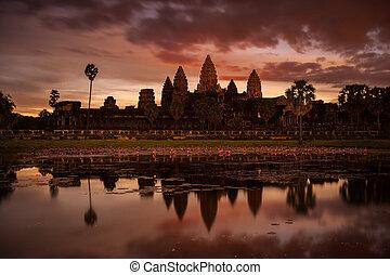 wat, angkor, kambodża