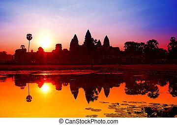wat angkor, levers de soleil, à, siem, reap., cambodge