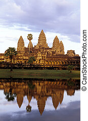 wat, angkor, sunrise-, camboya