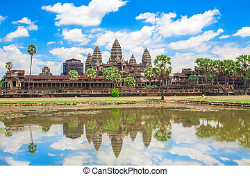 wat angkor, temple, siem, récolter, cambodge